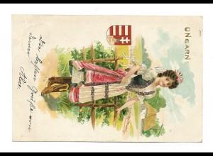 Y15332/ UNGARN Wappen Trachten Litho Glimmer AK 1900