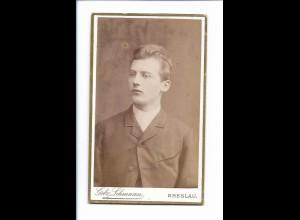Y16745/ CDV Foto junger Mann, Atelier Gebr. Lehmann, Breslau Schlesien ca.1900