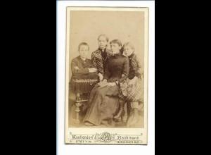 Y16752/ CDV Foto Mutter und Kinder Atelier Moellendorf & Bachmann Stettin ca1895
