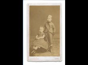 Y16751/ CDV Foto Junge und Mädchen Atelier Engelmann, Posen ca.1880