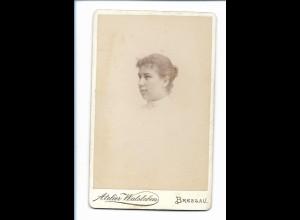 Y16746/ CDV Foto junge Frau, Atelier E. Walsleben, Breslau 1895 Schlesien