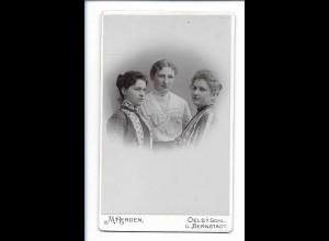 Y16748/ CDV Foto drei junge Frauen, Atelier M. Herden, Oels in Schlesien ca.1900