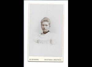 Y16750/ CDV Foto junge Frau, Atelier M. Herden Oels u. Militsch Schlesien 1897