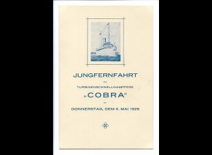 S2392/ Jungfernfahrt Dampfer Cobra 1926 Menukarte Speisekarte