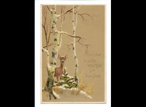 Y17368/ Neujahr Reh schöne Litho Präge AK 1907