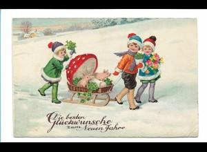 Y17369/ Neujahr Kinder Pilz Schwein Litho AK 1932