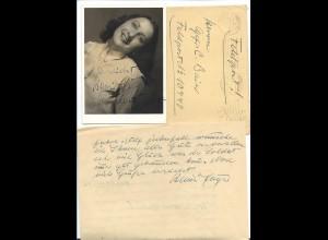 C3776/ Hansi Jäger Autogramm Foto + Brief Opernsängerin 1942