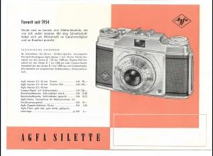 C3446/ Agfa Silette Kamera Fotoapparat Werbeblatt Reklame 1954