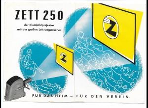 C3442/ Zett 250 Kleinbildpojektor Werbung Faltblatt 1955-60