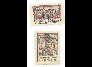 Y17759/ 2 x Flottenmarke Plauenscher-Grund WK1 Kaiser Wilhelm