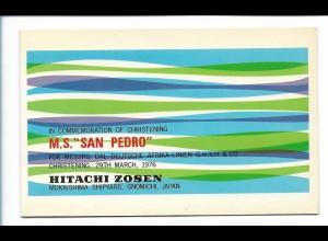 Y17767/ M.S. San Pedro Handelsschiff Hitachi Zosen AK zum Raustrennen 1976