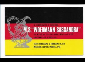 Y17765/ M.S. Woermann Sassandra Handelsschiff AK zum Raustrennen 1972
