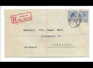 Y17705/ R-Brief Einschreiben Gibraltar 1932 nach hamburg
