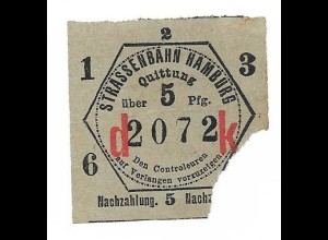 Y15521/ Alter Fahrschein Straßenbahn Hamburg Quittung 5 Pfg.