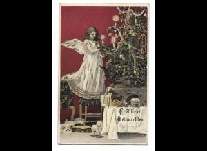 Y17859/ Weihnachten Engel Tannenbaum Litho AK 1903