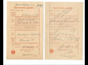 Y17848/ 2 x Post-Einlieferungsschein Berlin 1892/93