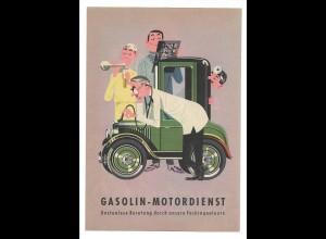 C3666/ Gasolin Motordienst ca.1960 Werbung Werbeblatt Frosch