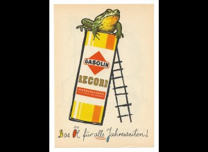 C3664/ Gasolin Record Mehrbereichsöl ca.1960 Werbung Werbeblatt Frosch