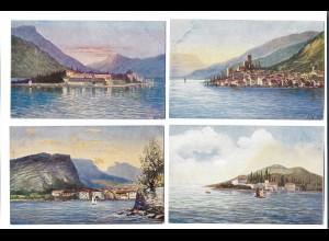 Y17872/ 4 x Künstler AK Gardasee Italien ca.1900