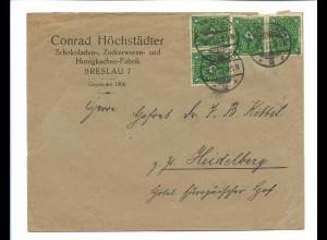 C3973/ Brief Conrad Höchstädter BRESLAU Schokoladen-Zuckerwaren-Fabrik 1922