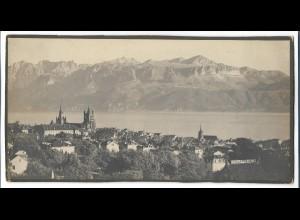 C3968/ Lausanne Genfer See Foto auf Pappe 28,5 x 14,5 cm ca.1910 Schweiz