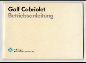 C3982/ VW Golf Cabriolet Betriebsanleitung 1989 sehr gute Erhaltung!