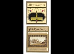 C4015/ 2 alte Etiketten Zigarrenkiste Alt-Hamburg, Rathaus Litho Prägedruck
