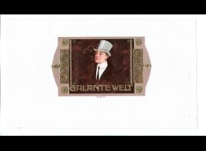 C4017/ Alte Etikette Zigarrenkiste Galante Welt Litho Prägedruck Jugendstil