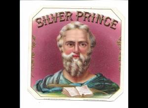 C4018/ Alte Etikette Zigarrenkiste Silver Prince Litho Prägedruck 11,5 x 11,5 cm