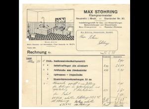 C3572/ Rechnung Neustrelitz in Meckl. Max Stöhring Klempnermeister 1938