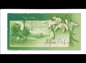 Y18196/ Minikarte AK 10 x 5 cm postal. gelaufen 1900 Litho