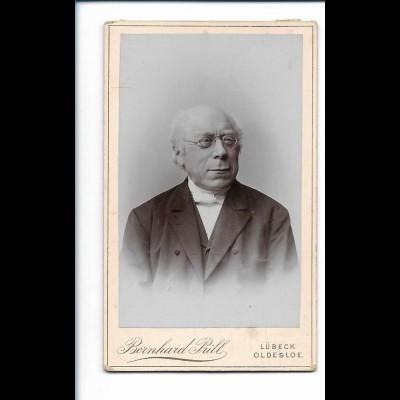 Y18230/ CDV alter Mann mit Brille Atelier Bernhard Prill Lübeck, Oldesloe ca1900