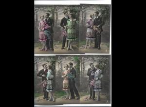 """XX11866/ 6er Serie """"Ewig möchte ich Dir gehören"""" Liebespaar Foto AK ca.1912"""