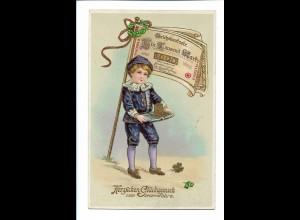 XX11861/ Neujahr Junge mit Geld Geldschein Litho Glanz AK ca.1910