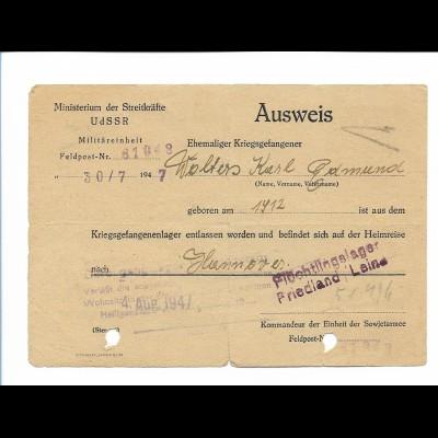 Y18761/ Ausweis ehemaliger Kriegsgefangener aus Rußland 1947 Lager Friedland