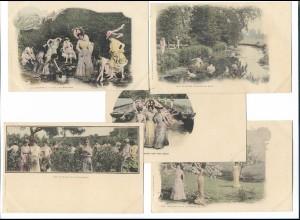 Y18332/ 5 x AK Les Saisons Frauen Erotik ca.1900
