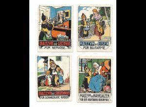 Y18311/ 4 x alte Reklamemarke Maltzym mit Eisen - Münchener Kindl