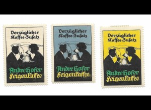 Y18312/ 3 x alte Reklamemarke Kaffee-Zusatz Andre Hofer Feigenkaffee
