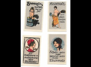 Y18313/ 4 x alte Reklamemarke Biomalz ca.1912