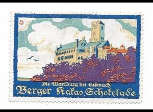 Y18307/ Alte Reklamemarke Berger Kakao Schokolade, Wartburg Eisenach