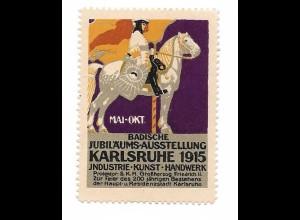 Y18308/ Alte Reklamemarke Badische Jubil. Ausstellung Karlsruhe 1915 Handwerk