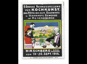 Y18309/ Alte Reklamemarke Hirschberg Schlesien Kochkunst Ausstellung 1914