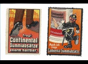 Y18314/ 2 x alte Reklamemarke Continental Gummiabsätze ca.1910