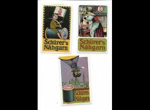 Y18315/ 3 x alte Reklamemarke Schürer`s Nähgarn ca.1912