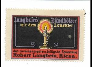 Y18301/ Alte Reklamemarke Langbeins Zündhölzer Streichhölzer, Riesa