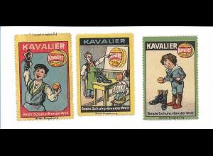 Y18300/ 3 alte Reklamemarke Kavalier Schuhcreme ca.1912