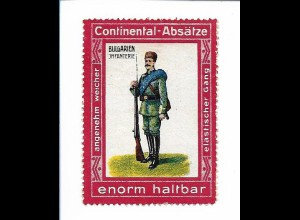 Y18297/ Alte Reklamemarke Continental-Absätze - Bulgarien Infanterie