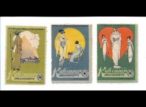 Y18294/ 3 alte Reklamemarke Kohinoor Druckknöpfe Jugendstil ca.1912