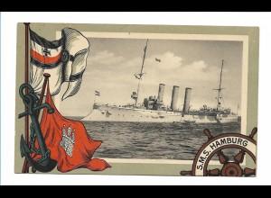 U9837/ S.M.S. Hamburg Marine Kriegsschiff schöne AK Fahnen ca.1912