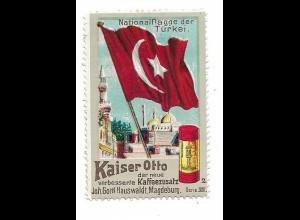 Y18288/ Alte Reklamemarke Kaiser Otto Kaffeezusatz Nationalflagge der Türkei